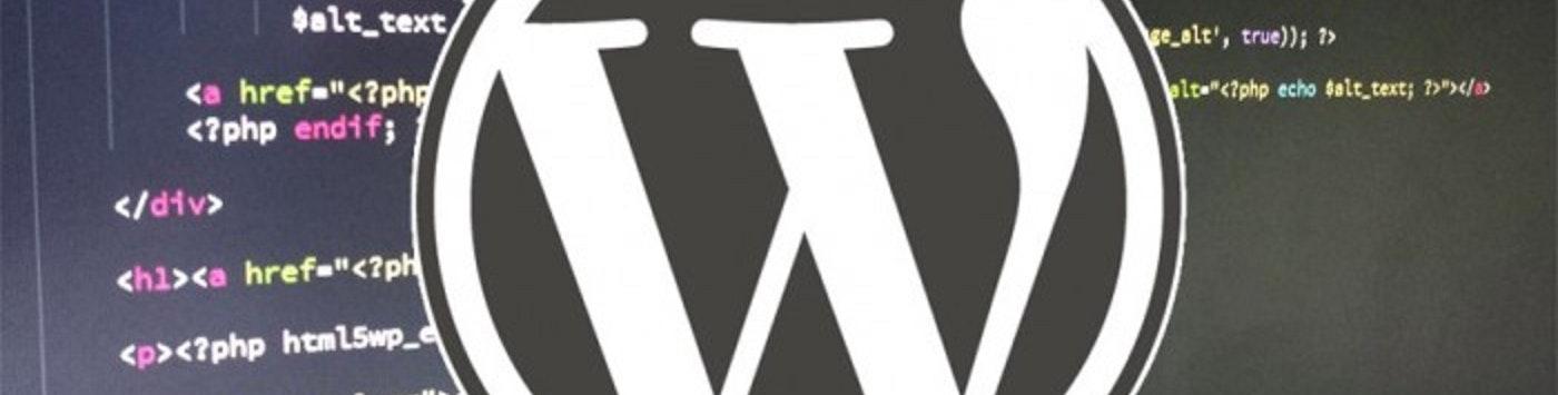 WordPress Logo with code background