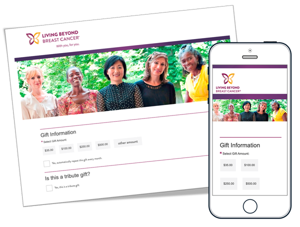 Living Beyond Breast Cancer Mobile Responsive Donation Forms