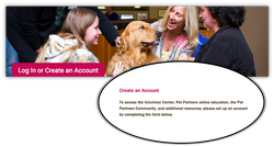 Pet Partners Create an Account Page