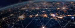 Digital grid over globe