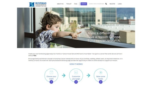 Huntsman Cancer Foundation Do It Yourself Fundraising Landing Page
