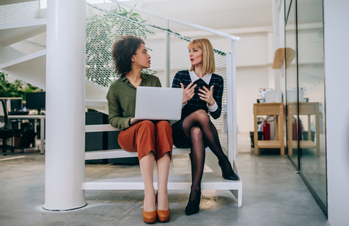 Two women meeting with a computer