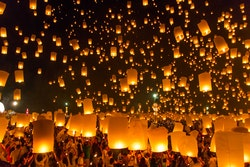 Lanterns Floating in the Sky