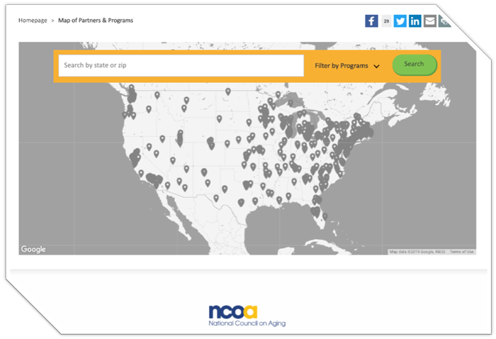 National Council on Aging Map with Search Function
