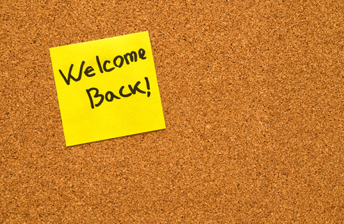 Post it Note that says Welcome Back