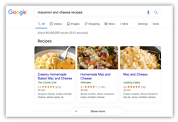 Recipe View with Search Schema