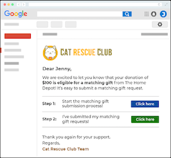 Example of the followup email to donors who have to take additional action for the company to match a gift