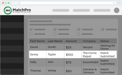 "example of the administrative side of 360MatchPro looking at constituent Jenny Taylor, her gift of $100 to Home Depot with the status of ""match submitted""."