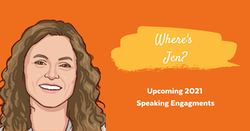 jen headshot with 2021 speaking engagements