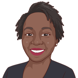 african american person smiling and wearing a black shirt